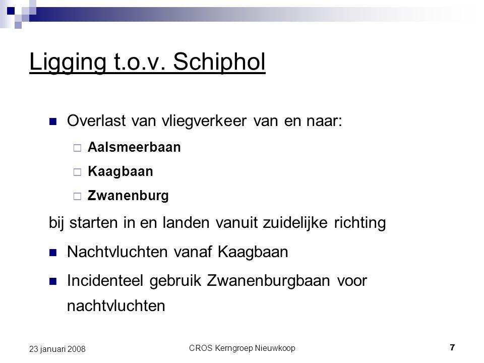 CROS Kerngroep Nieuwkoop7 23 januari 2008 Ligging t.o.v. Schiphol Overlast van vliegverkeer van en naar:  Aalsmeerbaan  Kaagbaan  Zwanenburg bij st