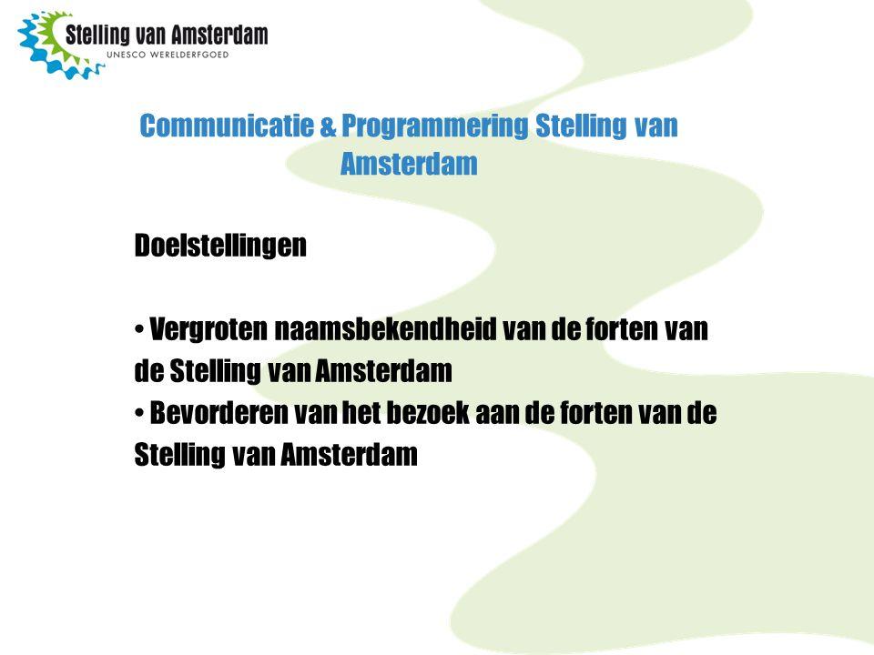Communicatie & Programmering Stelling van Amsterdam Doelstellingen Vergroten naamsbekendheid van de forten van de Stelling van Amsterdam Bevorderen van het bezoek aan de forten van de Stelling van Amsterdam