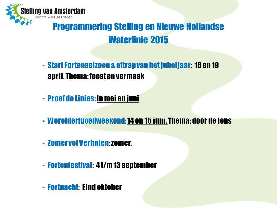 Programmering Stelling en Nieuwe Hollandse Waterlinie 2015 -Start Fortenseizoen & aftrap van het jubeljaar: 18 en 19 april. Thema: feest en vermaak -P