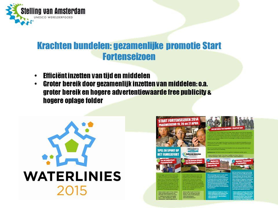 Krachten bundelen: gezamenlijke promotie Start Fortenseizoen Efficiënt inzetten van tijd en middelen Groter bereik door gezamenlijk inzetten van middelen: o.a.