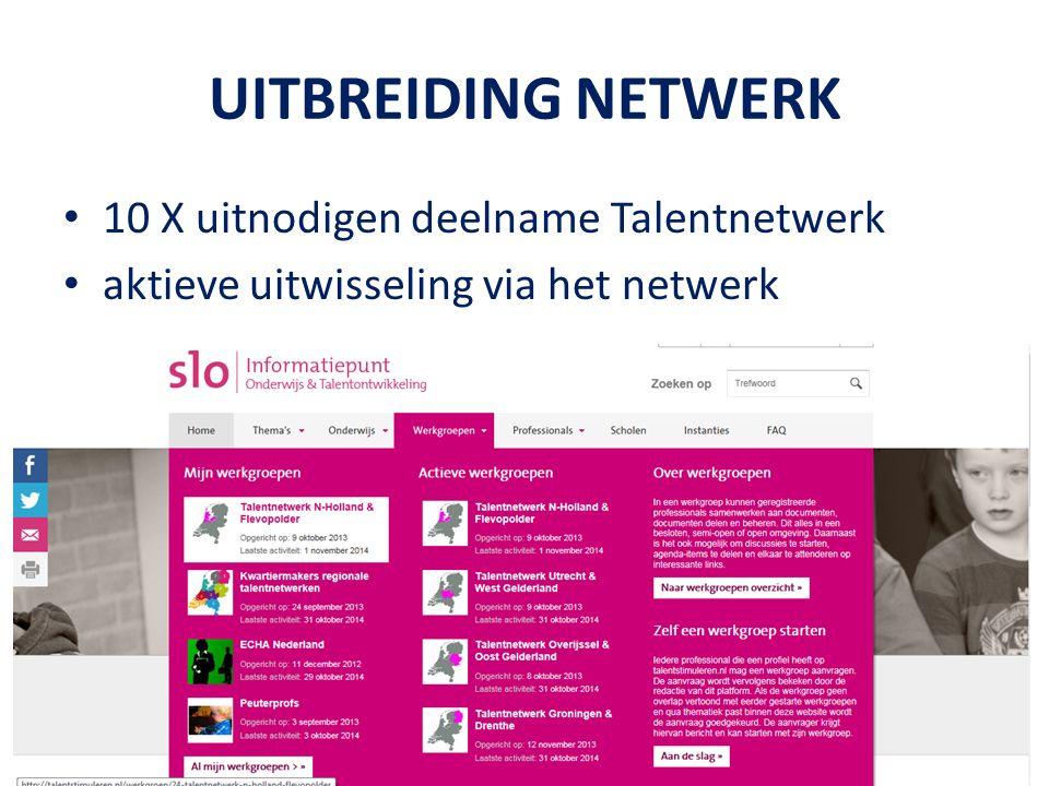 UITBREIDING NETWERK 10 X uitnodigen deelname Talentnetwerk aktieve uitwisseling via het netwerk