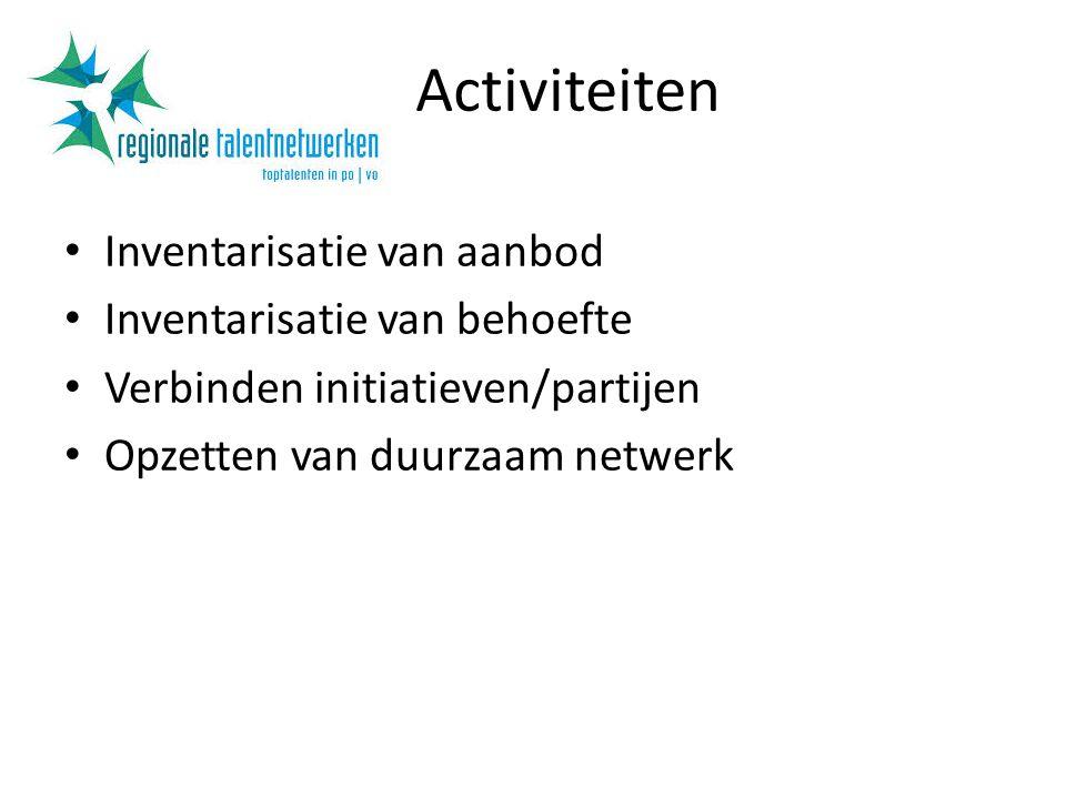 Activiteiten Inventarisatie van aanbod Inventarisatie van behoefte Verbinden initiatieven/partijen Opzetten van duurzaam netwerk