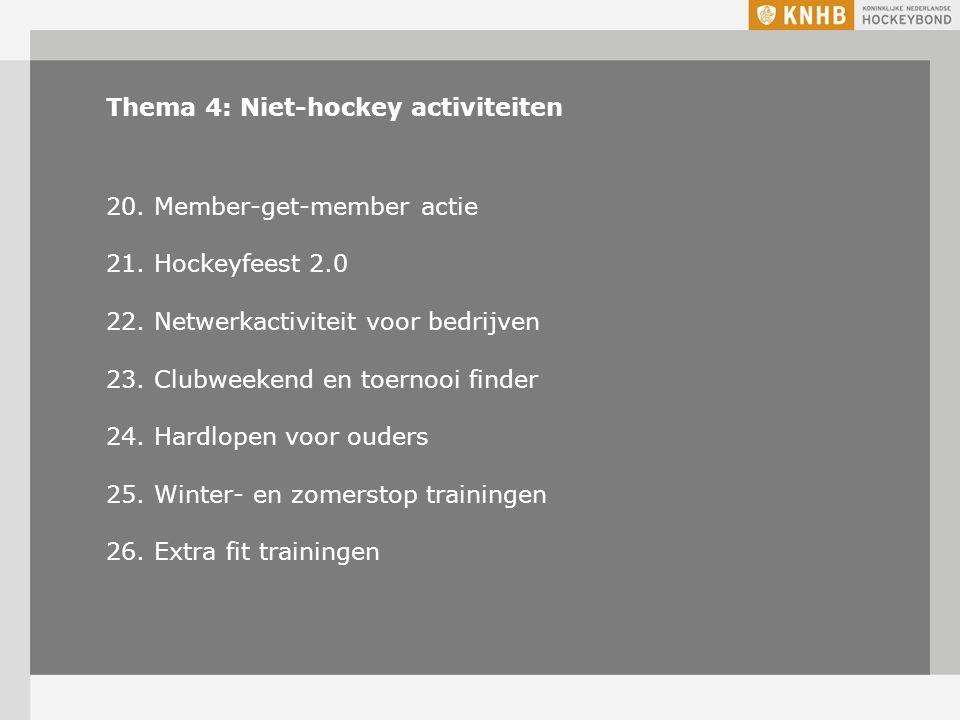 Thema 4: Niet-hockey activiteiten 20. Member-get-member actie 21.