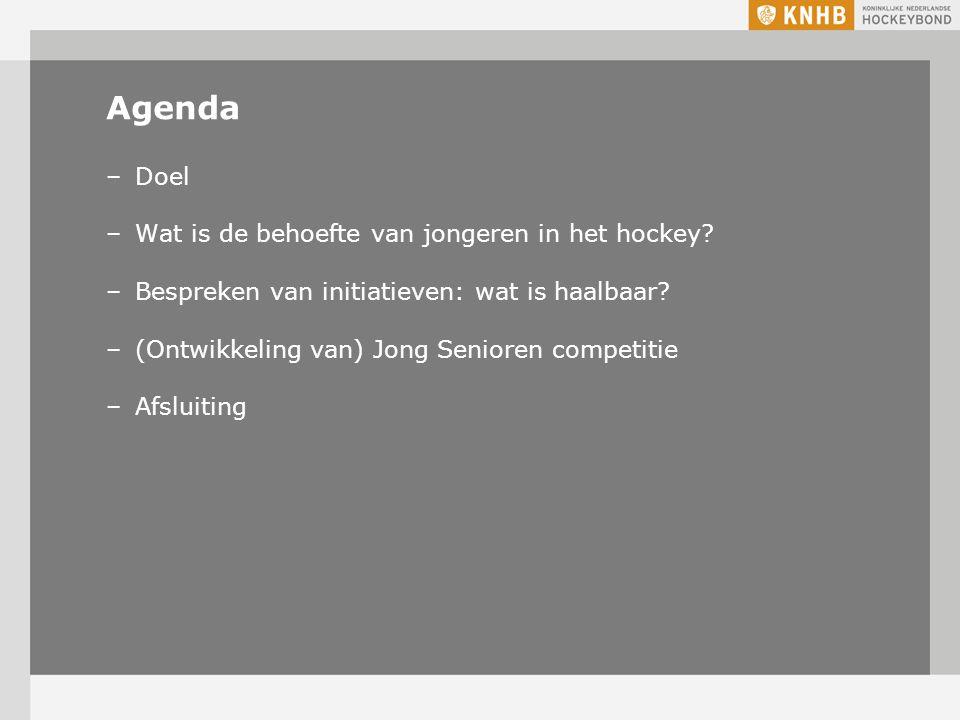 Agenda –Doel –Wat is de behoefte van jongeren in het hockey.