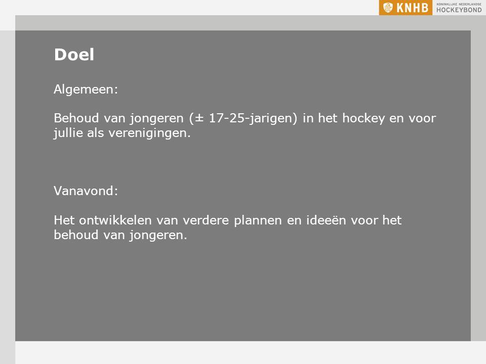 Doel Algemeen: Behoud van jongeren (± 17-25-jarigen) in het hockey en voor jullie als verenigingen.