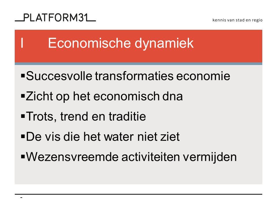 IEconomische dynamiek  Succesvolle transformaties economie  Zicht op het economisch dna  Trots, trend en traditie  De vis die het water niet ziet  Wezensvreemde activiteiten vermijden -
