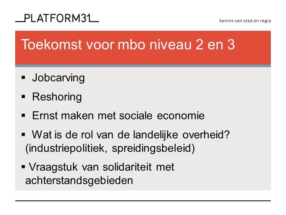 Toekomst voor mbo niveau 2 en 3  Jobcarving  Reshoring  Ernst maken met sociale economie  Wat is de rol van de landelijke overheid.