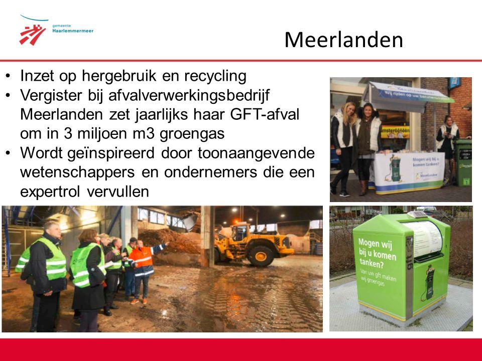 Meerlanden Inzet op hergebruik en recycling Vergister bij afvalverwerkingsbedrijf Meerlanden zet jaarlijks haar GFT-afval om in 3 miljoen m3 groengas Wordt geïnspireerd door toonaangevende wetenschappers en ondernemers die een expertrol vervullen