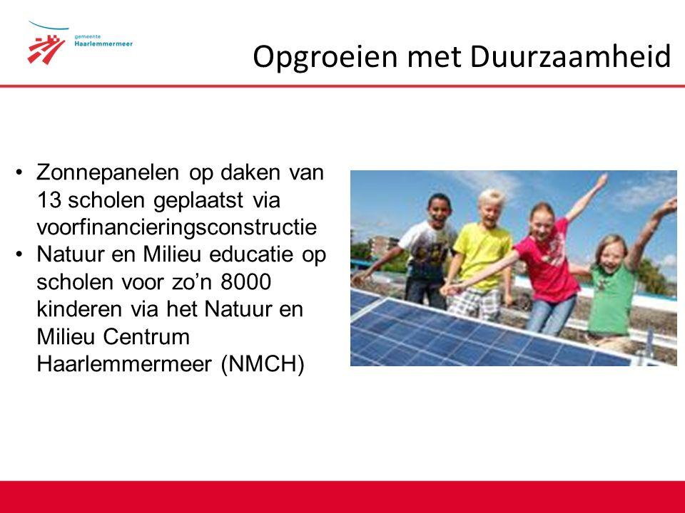 Opgroeien met Duurzaamheid Zonnepanelen op daken van 13 scholen geplaatst via voorfinancieringsconstructie Natuur en Milieu educatie op scholen voor zo'n 8000 kinderen via het Natuur en Milieu Centrum Haarlemmermeer (NMCH)