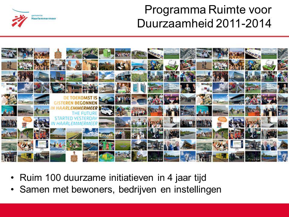Programma Ruimte voor Duurzaamheid 2011-2014 Ruim 100 duurzame initiatieven in 4 jaar tijd Samen met bewoners, bedrijven en instellingen