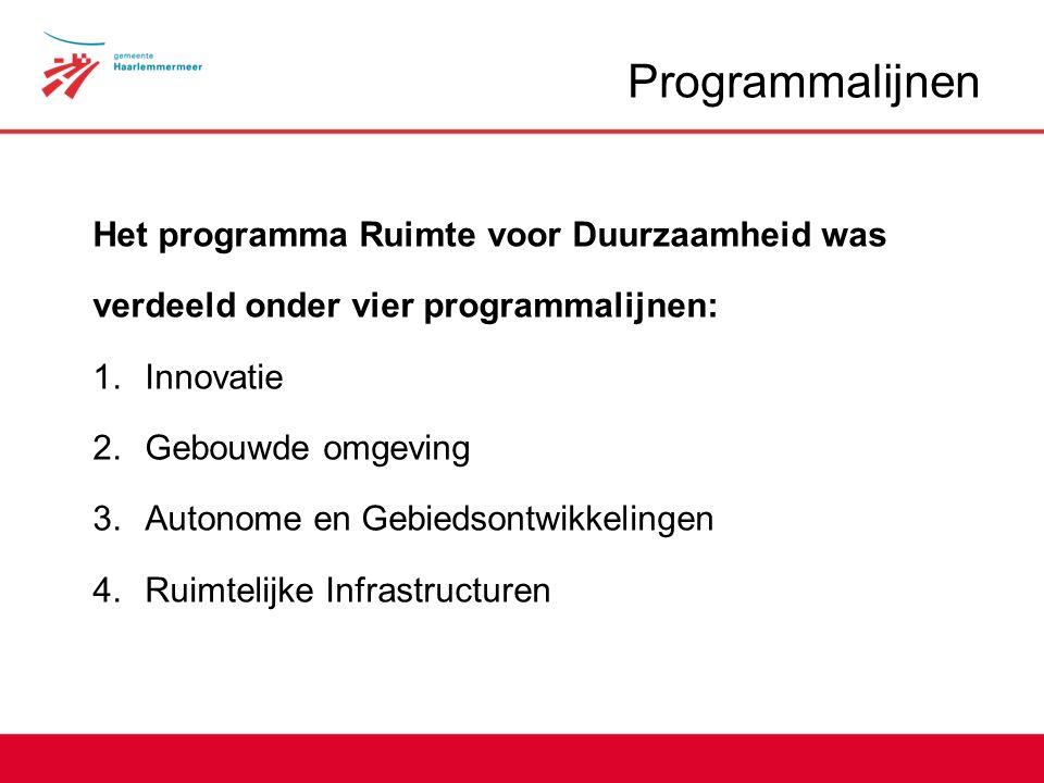 Programmalijnen Het programma Ruimte voor Duurzaamheid was verdeeld onder vier programmalijnen: 1.Innovatie 2.Gebouwde omgeving 3.Autonome en Gebiedsontwikkelingen 4.Ruimtelijke Infrastructuren