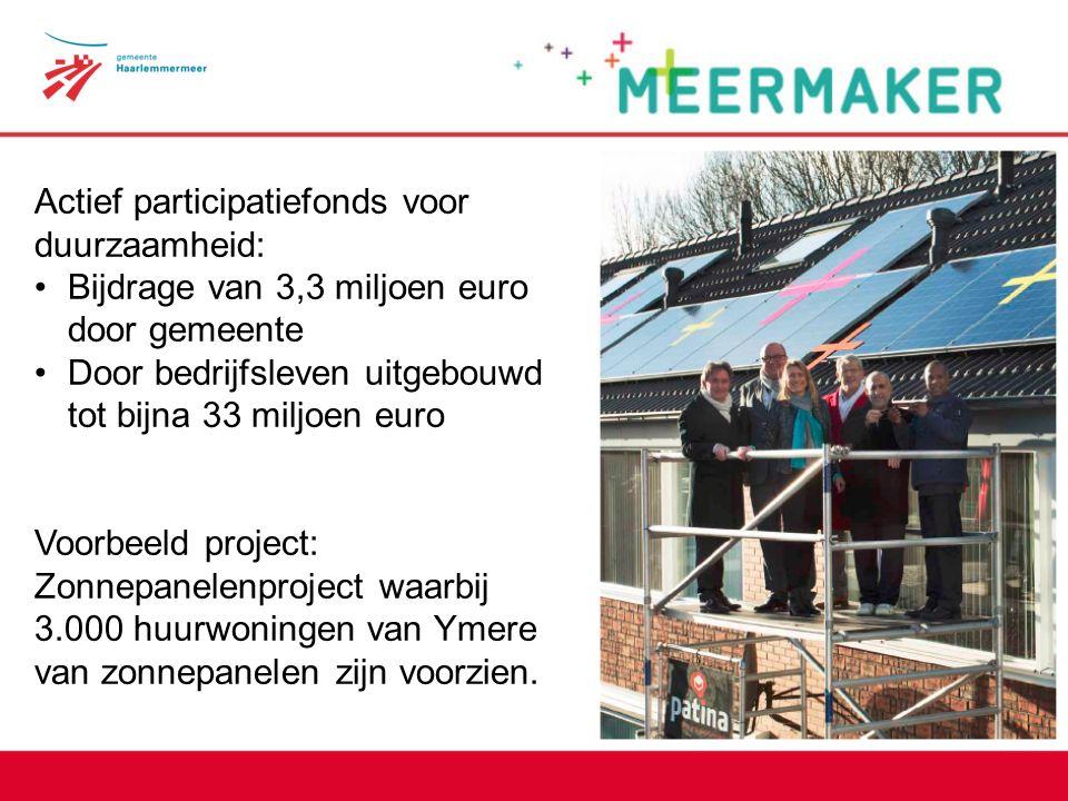Meermaker Actief participatiefonds voor duurzaamheid: Bijdrage van 3,3 miljoen euro door gemeente Door bedrijfsleven uitgebouwd tot bijna 33 miljoen euro Voorbeeld project: Zonnepanelenproject waarbij 3.000 huurwoningen van Ymere van zonnepanelen zijn voorzien.
