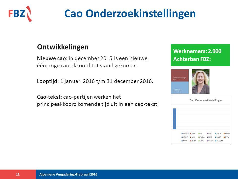 Cao Onderzoekinstellingen Nieuwe cao: in december 2015 is een nieuwe éénjarige cao akkoord tot stand gekomen.