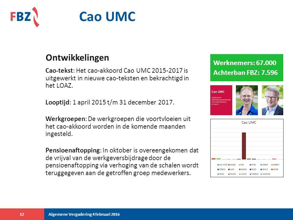 Cao UMC Cao-tekst: Het cao-akkoord Cao UMC 2015-2017 is uitgewerkt in nieuwe cao-teksten en bekrachtigd in het LOAZ.