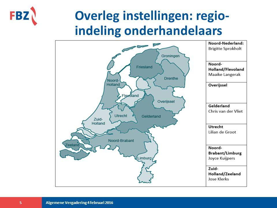Overleg instellingen: regio- indeling onderhandelaars Algemene Vergadering 4 februari 20165