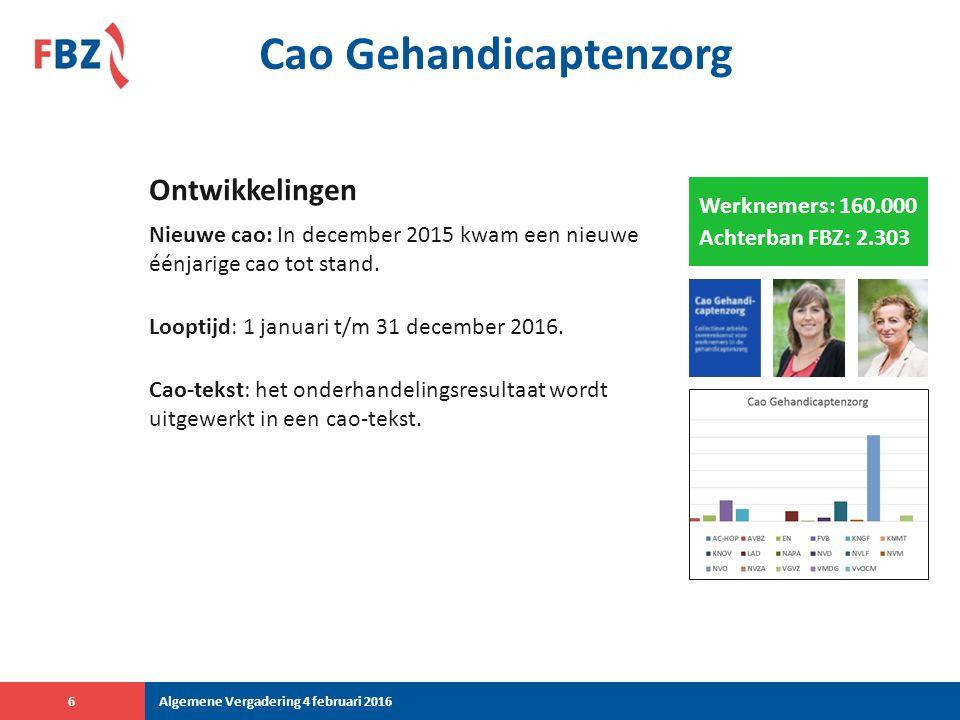Cao Gehandicaptenzorg Nieuwe cao: In december 2015 kwam een nieuwe éénjarige cao tot stand.