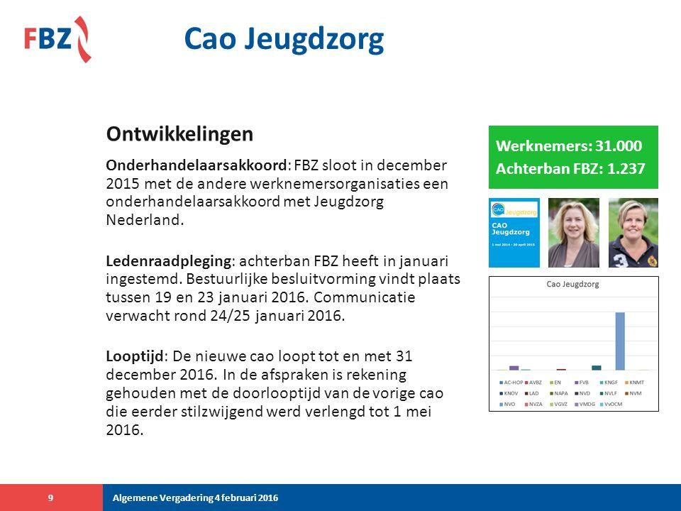 Cao Jeugdzorg Onderhandelaarsakkoord: FBZ sloot in december 2015 met de andere werknemersorganisaties een onderhandelaarsakkoord met Jeugdzorg Nederland.