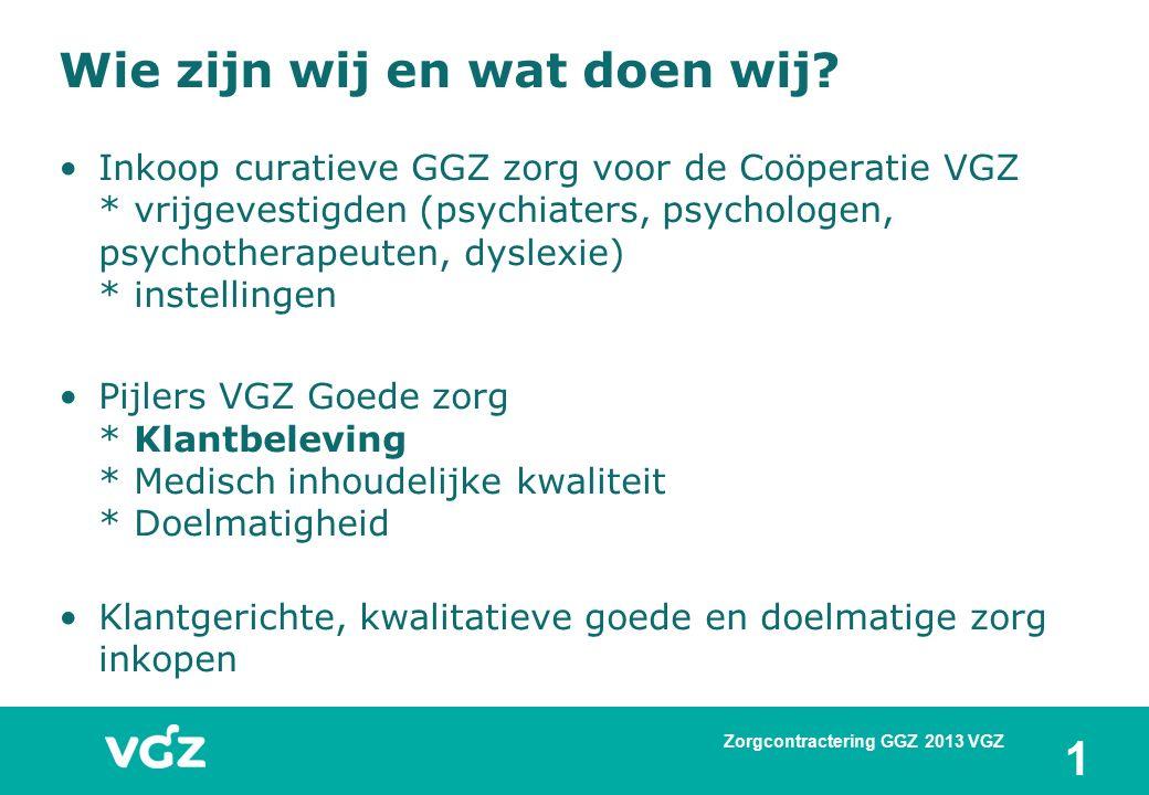 Wie zijn wij en wat doen wij? Inkoop curatieve GGZ zorg voor de Coöperatie VGZ * vrijgevestigden (psychiaters, psychologen, psychotherapeuten, dyslexi