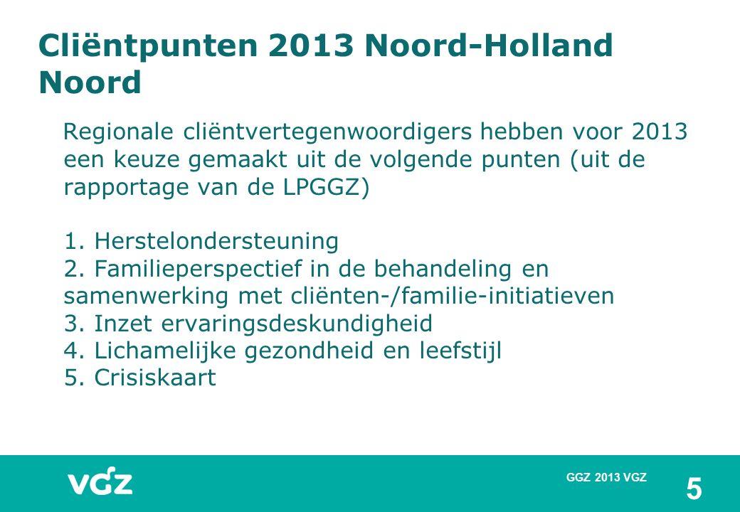 Cliëntpunten 2013 Noord-Holland Noord Regionale cliëntvertegenwoordigers hebben voor 2013 een keuze gemaakt uit de volgende punten (uit de rapportage van de LPGGZ) 1.