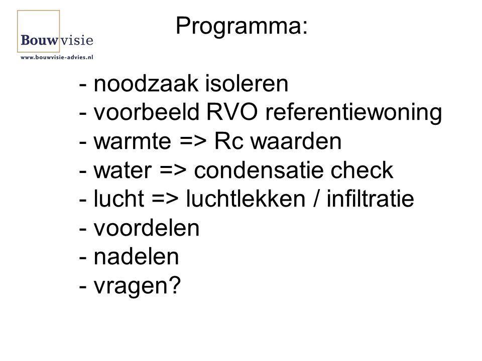 Programma: - noodzaak isoleren - voorbeeld RVO referentiewoning - warmte => Rc waarden - water => condensatie check - lucht => luchtlekken / infiltratie - voordelen - nadelen - vragen