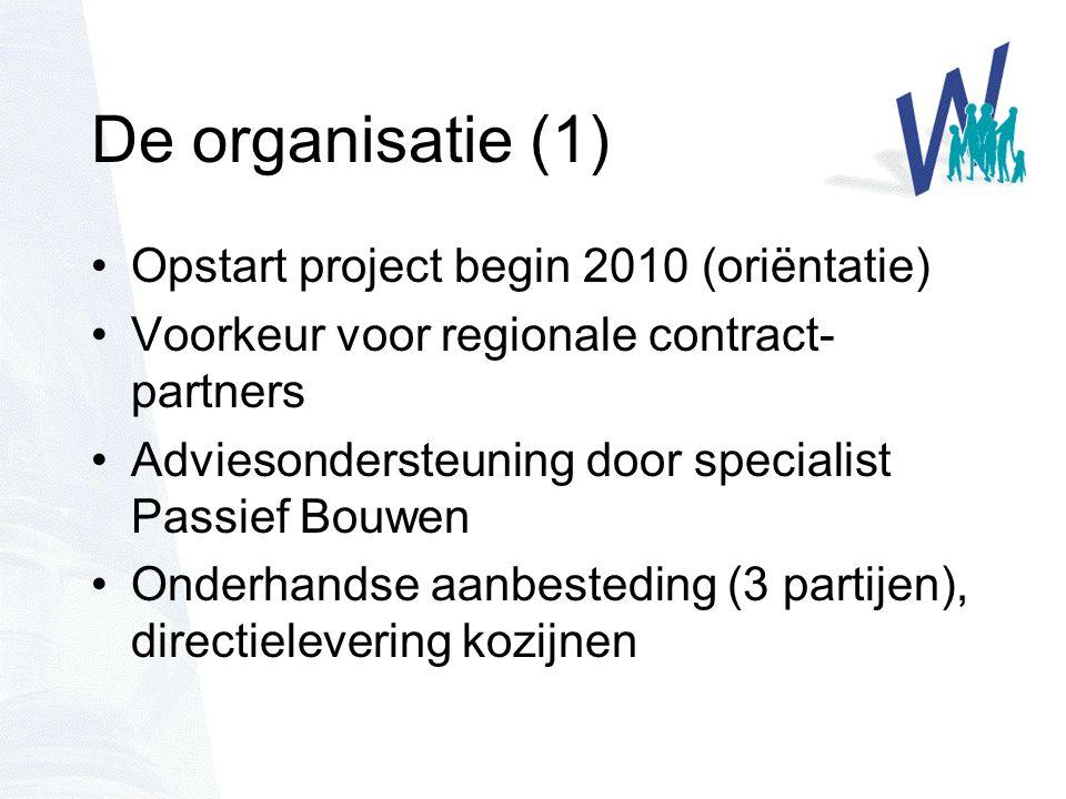 De organisatie (1) Opstart project begin 2010 (oriëntatie) Voorkeur voor regionale contract- partners Adviesondersteuning door specialist Passief Bouwen Onderhandse aanbesteding (3 partijen), directielevering kozijnen