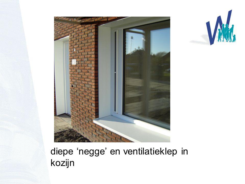 diepe 'negge' en ventilatieklep in kozijn
