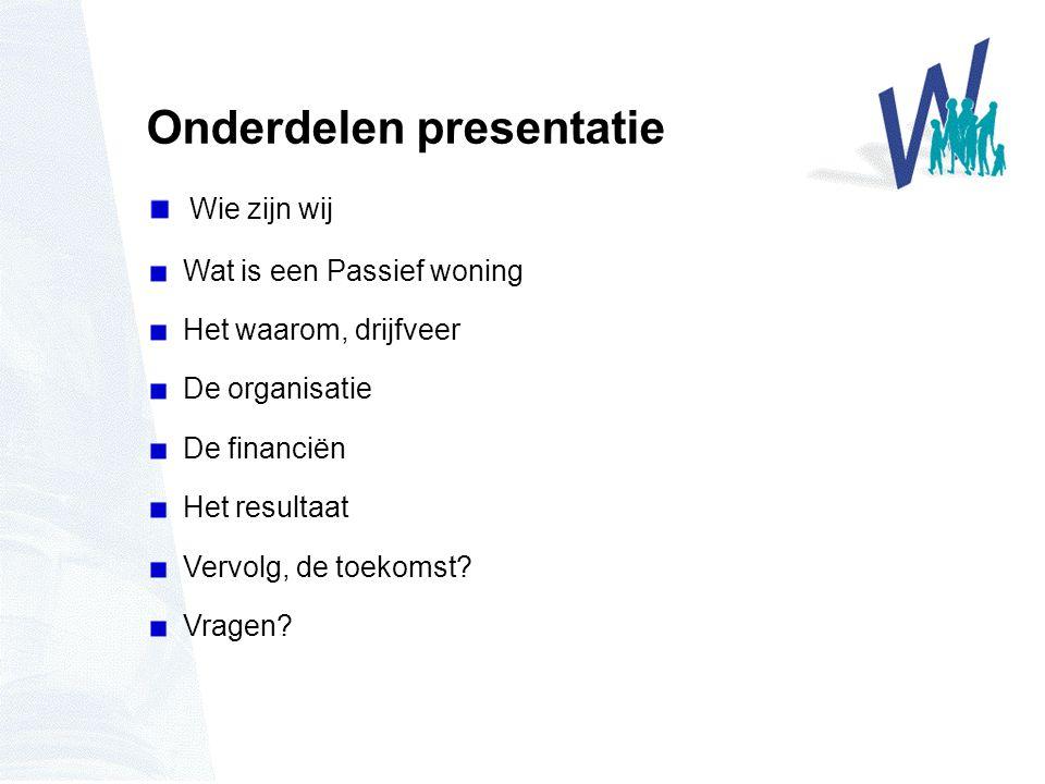 Onderdelen presentatie Wie zijn wij Wat is een Passief woning Het waarom, drijfveer De organisatie De financiën Het resultaat Vervolg, de toekomst.