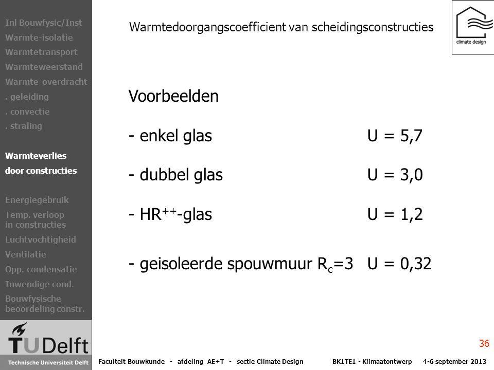 Warmtedoorgangscoefficient van scheidingsconstructies Voorbeelden - enkel glas U = 5,7 - dubbel glas U = 3,0 - HR ++ -glas U = 1,2 - geisoleerde spouwmuur R c =3 U = 0,32 Sectie Climate Design Vakken Klimaatontwerp Duurzaamheid Exergie Bouwfysica/Inst Warmte-isolatie Warmtetransport Warmteweerstand Warmte-overdracht.