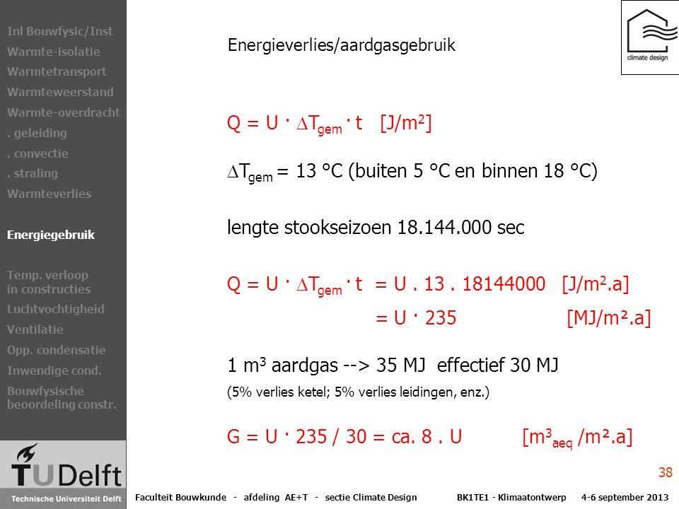 Energieverlies/aardgasgebruik Q = U ·  T gem · t [J/m 2 ]  T gem = 13 °C (buiten 5 °C en binnen 18 °C) lengte stookseizoen 18.144.000 sec Q = U ·  T gem · t = U.