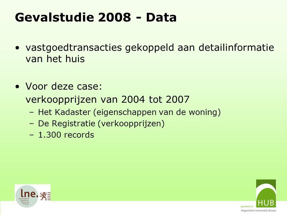 Gevalstudie 2008 - Data vastgoedtransacties gekoppeld aan detailinformatie van het huis Voor deze case: verkoopprijzen van 2004 tot 2007 –Het Kadaster (eigenschappen van de woning) –De Registratie (verkoopprijzen) –1.300 records