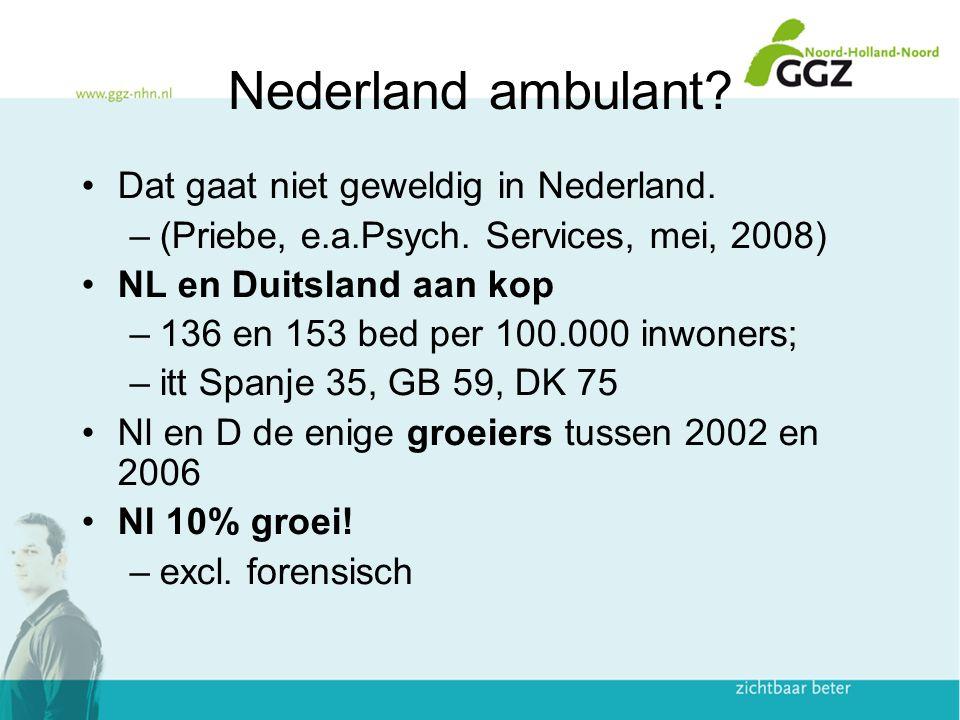 Nederland ambulant? Dat gaat niet geweldig in Nederland. –(Priebe, e.a.Psych. Services, mei, 2008) NL en Duitsland aan kop –136 en 153 bed per 100.000
