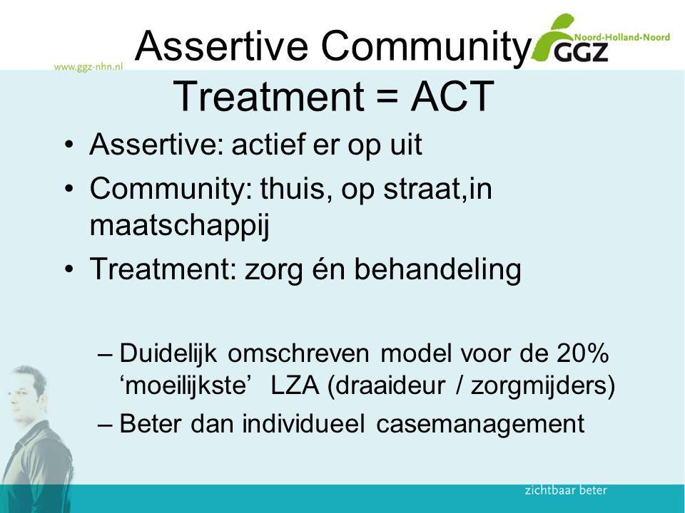 Assertive Community Treatment = ACT Assertive: actief er op uit Community: thuis, op straat,in maatschappij Treatment: zorg én behandeling –Duidelijk