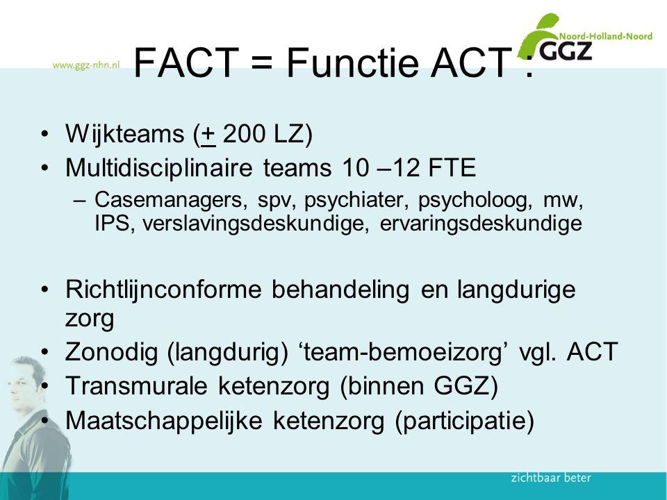 FACT = Functie ACT : Wijkteams (+ 200 LZ) Multidisciplinaire teams 10 –12 FTE –Casemanagers, spv, psychiater, psycholoog, mw, IPS, verslavingsdeskundi