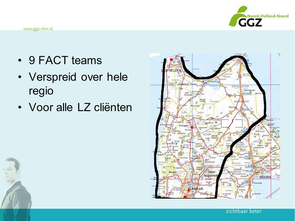 9 FACT teams Verspreid over hele regio Voor alle LZ cliënten