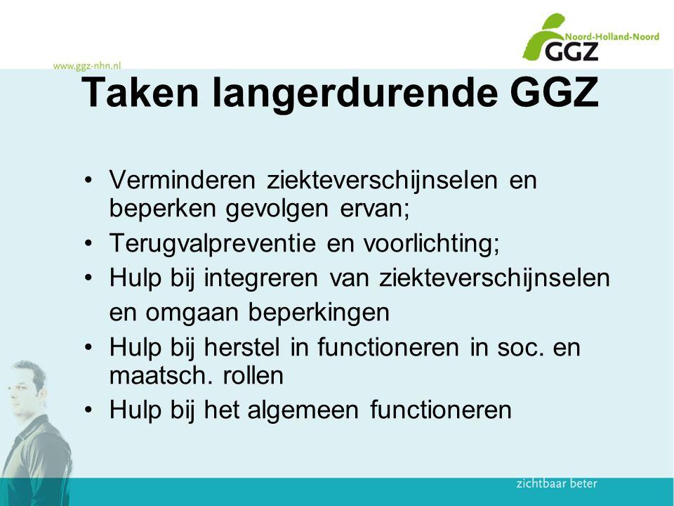 Taken langerdurende GGZ Verminderen ziekteverschijnselen en beperken gevolgen ervan; Terugvalpreventie en voorlichting; Hulp bij integreren van ziekte