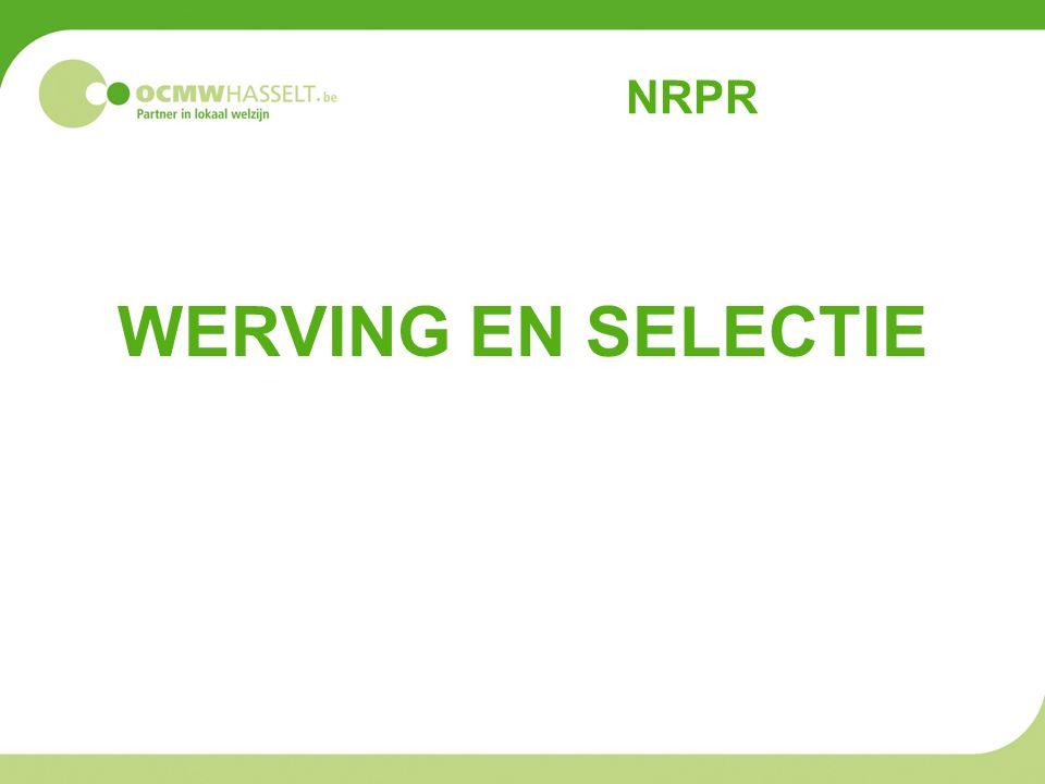 NRPR WERVING EN SELECTIE