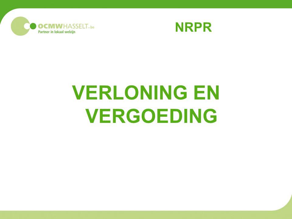 NRPR VERLONING EN VERGOEDING