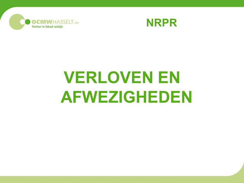 NRPR VERLOVEN EN AFWEZIGHEDEN