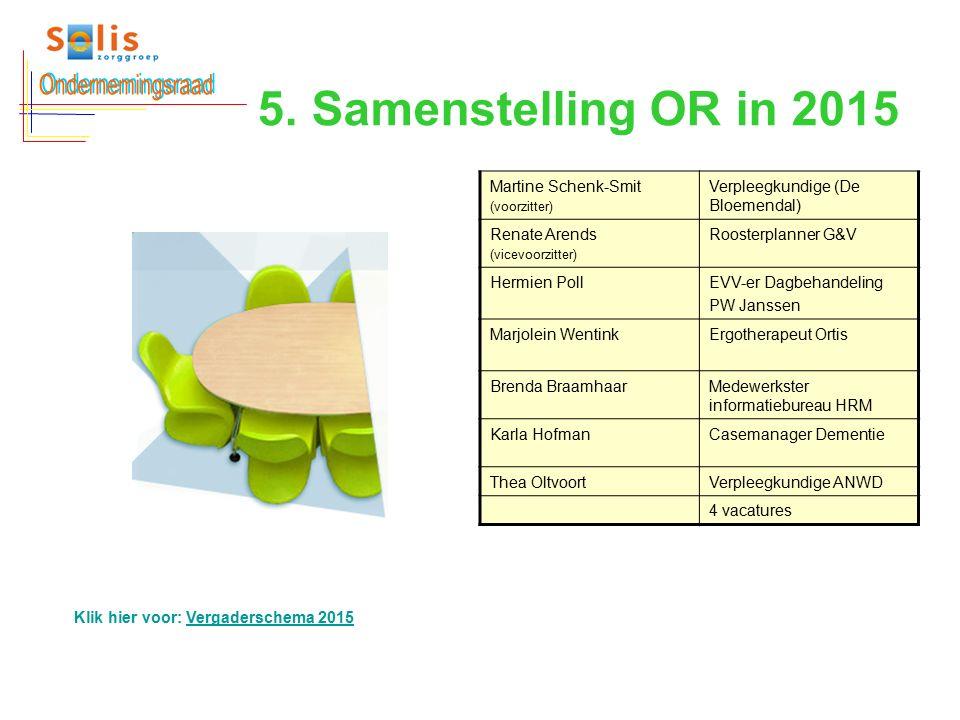 5. Samenstelling OR in 2015 Martine Schenk-Smit (voorzitter) Verpleegkundige (De Bloemendal) Renate Arends (vicevoorzitter) Roosterplanner G&V Hermien