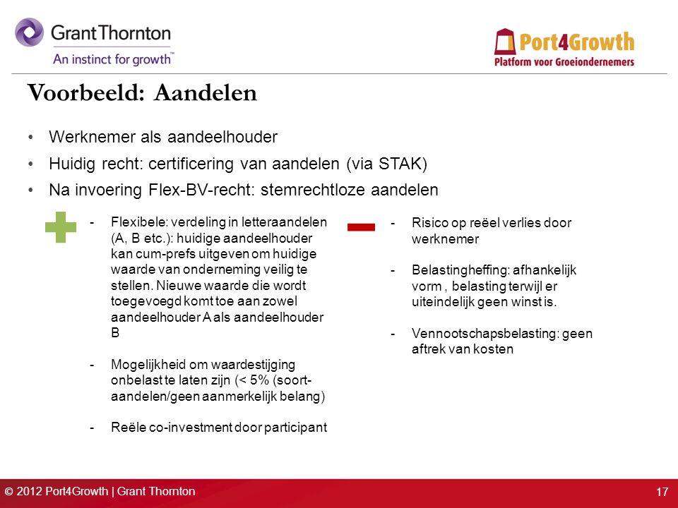 © 2012 Port4Growth | Grant Thornton 17 Voorbeeld: Aandelen Werknemer als aandeelhouder Huidig recht: certificering van aandelen (via STAK) Na invoering Flex-BV-recht: stemrechtloze aandelen -Flexibele: verdeling in letteraandelen (A, B etc.): huidige aandeelhouder kan cum-prefs uitgeven om huidige waarde van onderneming veilig te stellen.