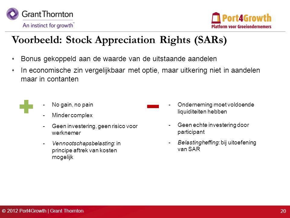 © 2012 Port4Growth | Grant Thornton 20 Voorbeeld: Stock Appreciation Rights (SARs) Bonus gekoppeld aan de waarde van de uitstaande aandelen In economische zin vergelijkbaar met optie, maar uitkering niet in aandelen maar in contanten -No gain, no pain -Minder complex -Geen investering, geen risico voor werknemer -Vennootschapsbelasting: in principe aftrek van kosten mogelijk -Onderneming moet voldoende liquiditeiten hebben -Geen echte investering door participant -Belastingheffing: bij uitoefening van SAR