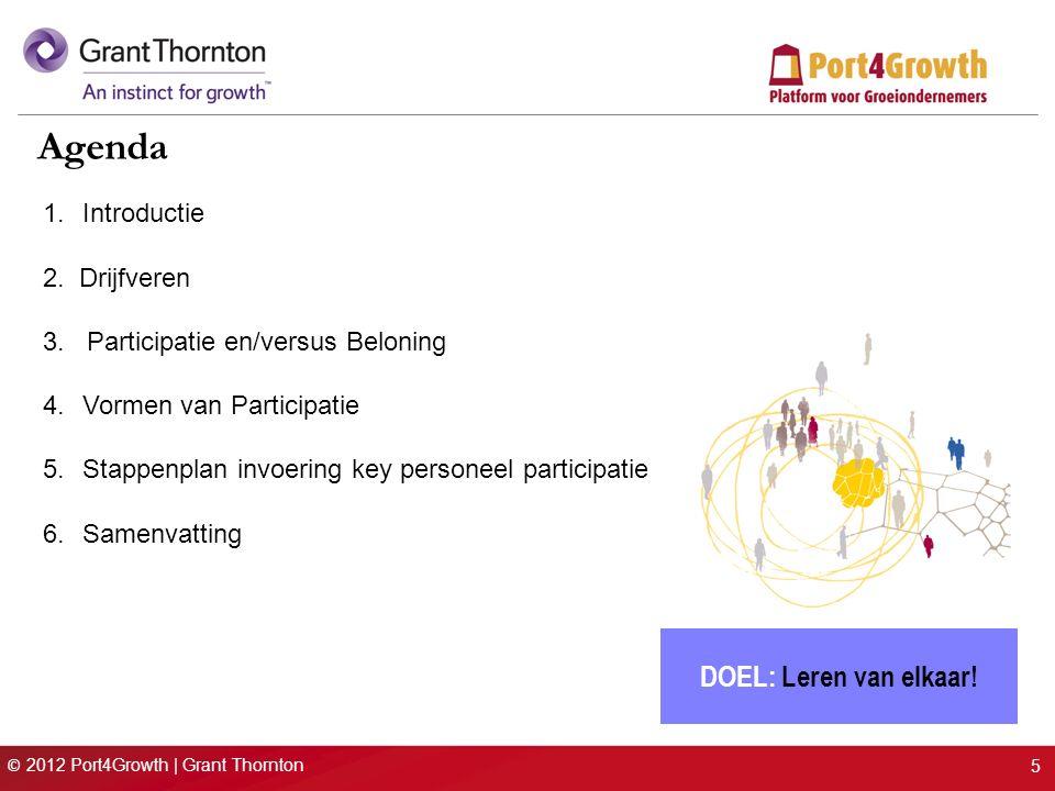 © 2012 Port4Growth | Grant Thornton 5 1.Introductie 2. Drijfveren 3. Participatie en/versus Beloning 4.Vormen van Participatie 5.Stappenplan invoering