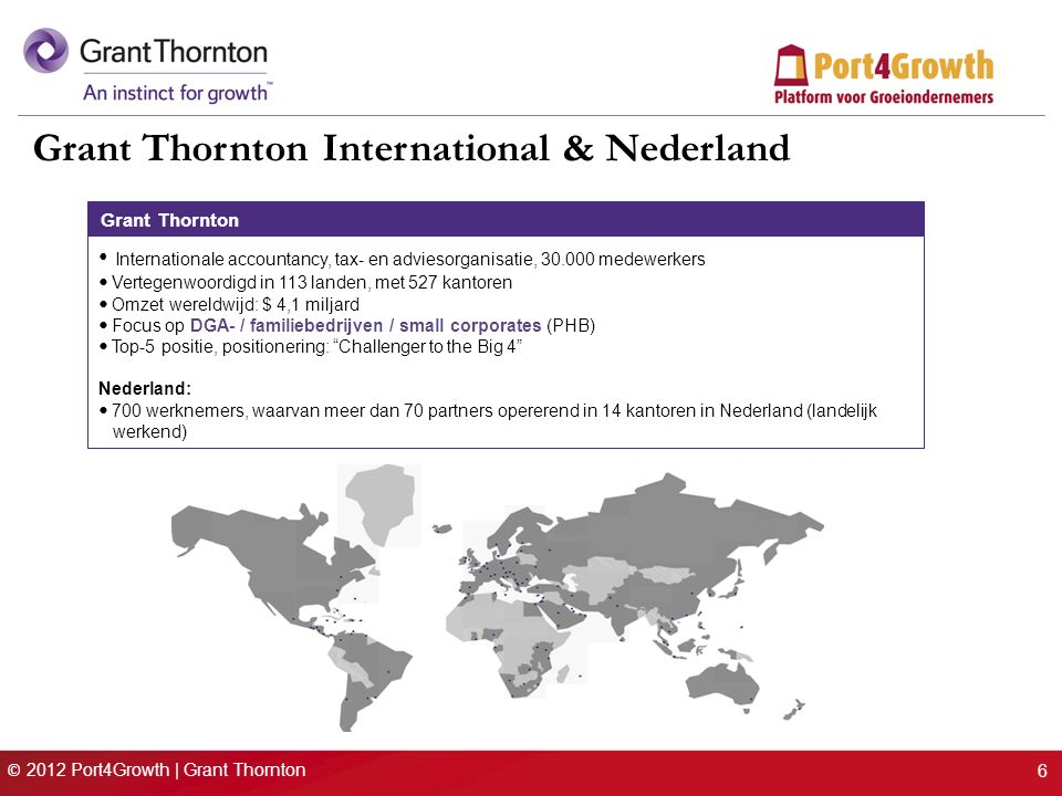 © 2012 Port4Growth | Grant Thornton 6 Grant Thornton International & Nederland Grant Thornton Internationale accountancy, tax- en adviesorganisatie, 30.000 medewerkers Vertegenwoordigd in 113 landen, met 527 kantoren Omzet wereldwijd: $ 4,1 miljard Focus op DGA- / familiebedrijven / small corporates (PHB) Top-5 positie, positionering: Challenger to the Big 4 Nederland: 700 werknemers, waarvan meer dan 70 partners opererend in 14 kantoren in Nederland (landelijk werkend) Grant ThorntonCorporate Finance–
