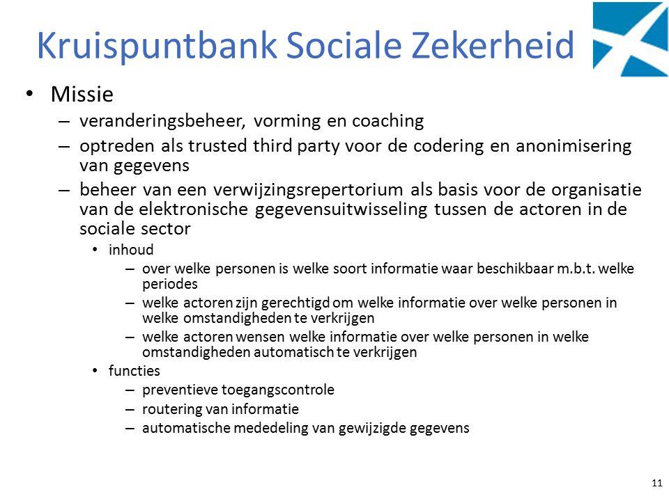 Kruispuntbank Sociale Zekerheid Missie – veranderingsbeheer, vorming en coaching – optreden als trusted third party voor de codering en anonimisering