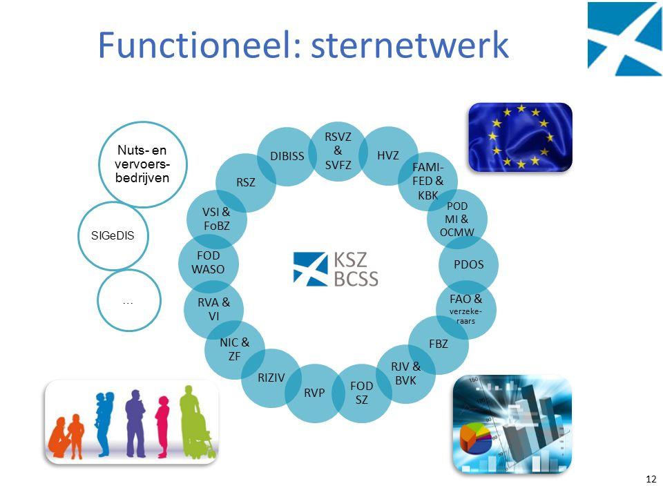 Functioneel: sternetwerk 12 RSVZ & SVFZ HVZ FAMI- FED & KBK POD MI & OCMW PDOS FAO & verzeke- raars FBZ RJV & BVK FOD SZ RVP RIZIV NIC & ZF RVA & VI FOD WASO VSI & FoBZ RSZ DIBISS … Nuts- en vervoers- bedrijven SIGeDIS