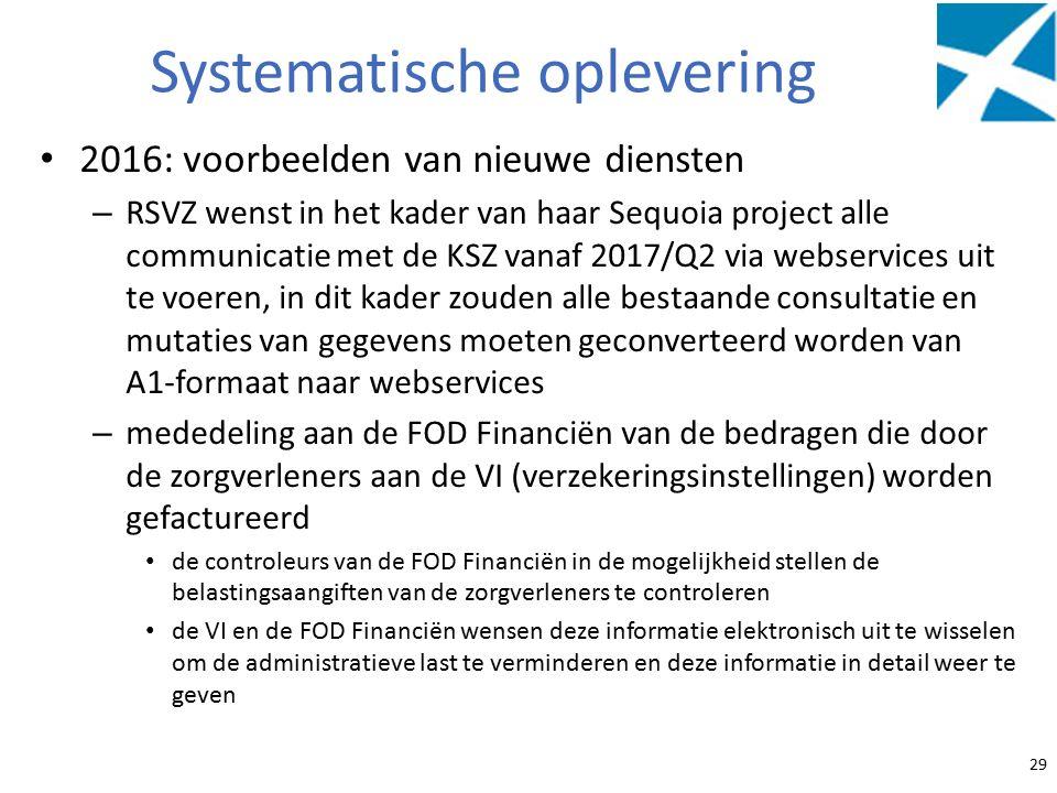 Systematische oplevering 2016: voorbeelden van nieuwe diensten – RSVZ wenst in het kader van haar Sequoia project alle communicatie met de KSZ vanaf 2017/Q2 via webservices uit te voeren, in dit kader zouden alle bestaande consultatie en mutaties van gegevens moeten geconverteerd worden van A1-formaat naar webservices – mededeling aan de FOD Financiën van de bedragen die door de zorgverleners aan de VI (verzekeringsinstellingen) worden gefactureerd de controleurs van de FOD Financiën in de mogelijkheid stellen de belastingsaangiften van de zorgverleners te controleren de VI en de FOD Financiën wensen deze informatie elektronisch uit te wisselen om de administratieve last te verminderen en deze informatie in detail weer te geven 29