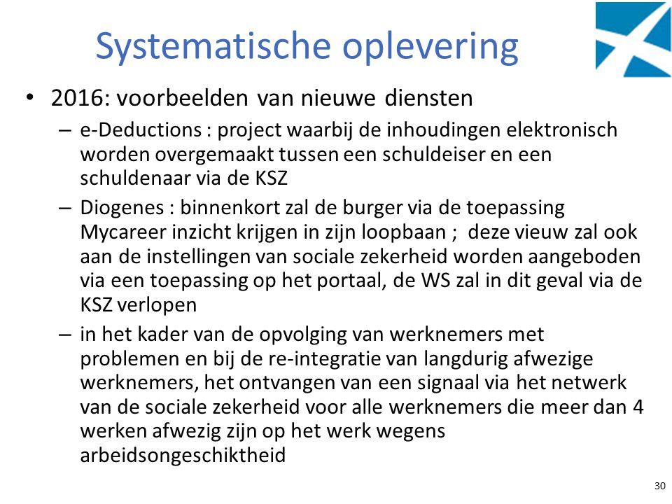 Systematische oplevering 2016: voorbeelden van nieuwe diensten – e-Deductions : project waarbij de inhoudingen elektronisch worden overgemaakt tussen een schuldeiser en een schuldenaar via de KSZ – Diogenes : binnenkort zal de burger via de toepassing Mycareer inzicht krijgen in zijn loopbaan ; deze vieuw zal ook aan de instellingen van sociale zekerheid worden aangeboden via een toepassing op het portaal, de WS zal in dit geval via de KSZ verlopen – in het kader van de opvolging van werknemers met problemen en bij de re-integratie van langdurig afwezige werknemers, het ontvangen van een signaal via het netwerk van de sociale zekerheid voor alle werknemers die meer dan 4 werken afwezig zijn op het werk wegens arbeidsongeschiktheid 30