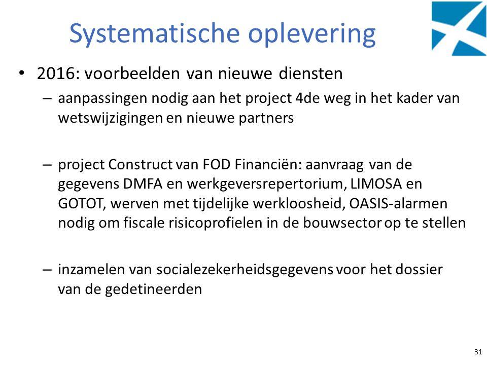 Systematische oplevering 2016: voorbeelden van nieuwe diensten – aanpassingen nodig aan het project 4de weg in het kader van wetswijzigingen en nieuwe partners – project Construct van FOD Financiën: aanvraag van de gegevens DMFA en werkgeversrepertorium, LIMOSA en GOTOT, werven met tijdelijke werkloosheid, OASIS-alarmen nodig om fiscale risicoprofielen in de bouwsector op te stellen – inzamelen van socialezekerheidsgegevens voor het dossier van de gedetineerden 31