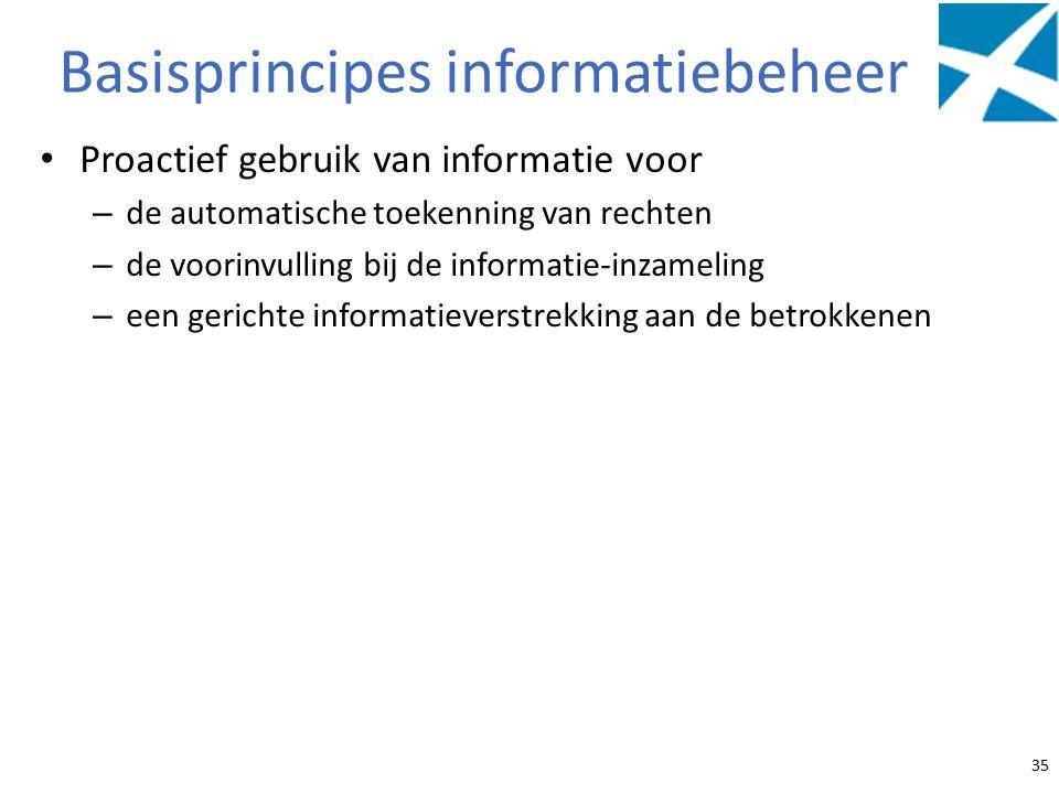 Basisprincipes informatiebeheer Proactief gebruik van informatie voor – de automatische toekenning van rechten – de voorinvulling bij de informatie-inzameling – een gerichte informatieverstrekking aan de betrokkenen 35