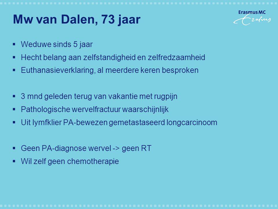 Mw van Dalen, 73 jaar  Weduwe sinds 5 jaar  Hecht belang aan zelfstandigheid en zelfredzaamheid  Euthanasieverklaring, al meerdere keren besproken